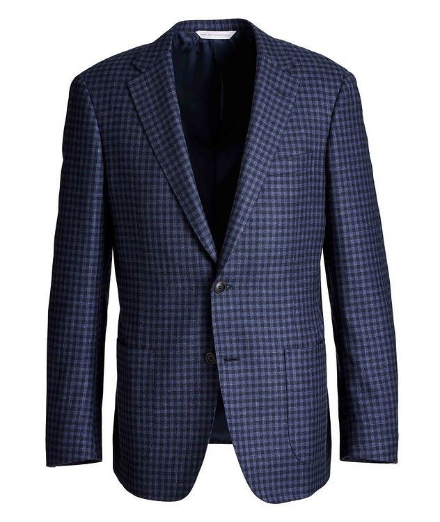 Cosmo Gingham Wool, Silk, and Linen Sports Jacket picture 1