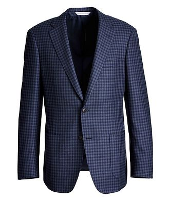 Samuelsohn Cosmo Gingham Wool, Silk, and Linen Sports Jacket