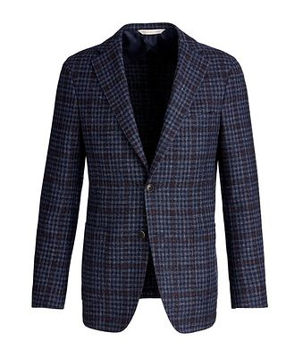 Samuelsohn Checked Wool, Silk, and Linen Sports Jacket