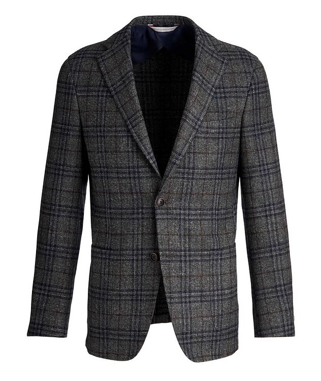 Checked Wool, Silk, and Linen Sports Jacket picture 1