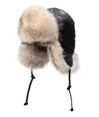Crown Cap Leather And Badger Fur Aviator Hat
