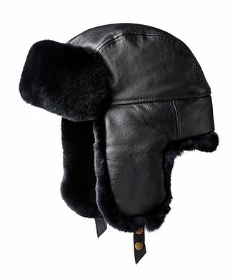 Crown Cap Leather and Rabbit Fur Aviator Hat
