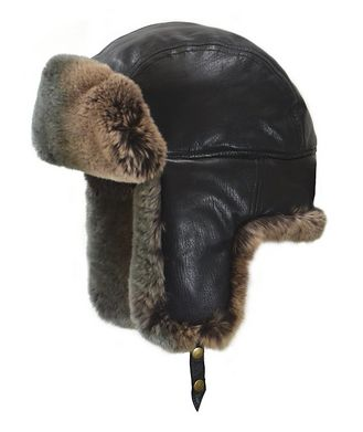 Crown Cap Lambskin & Rabbit Fur Aviator Hat