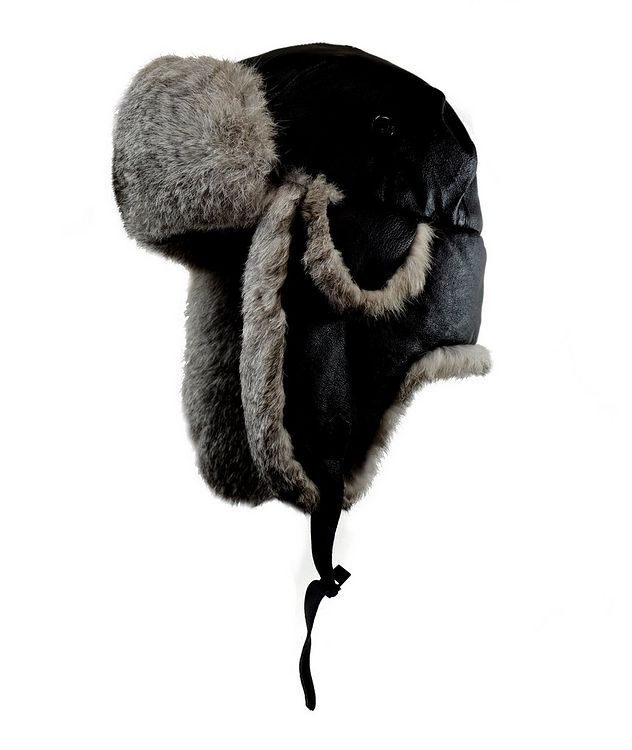 Nappa Leather & Rabbit Fur Aviator Hat picture 1