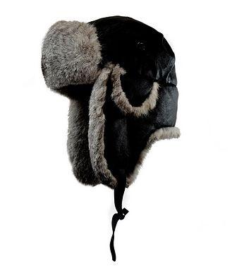 Crown Cap Nappa Leather & Rabbit Fur Aviator Hat
