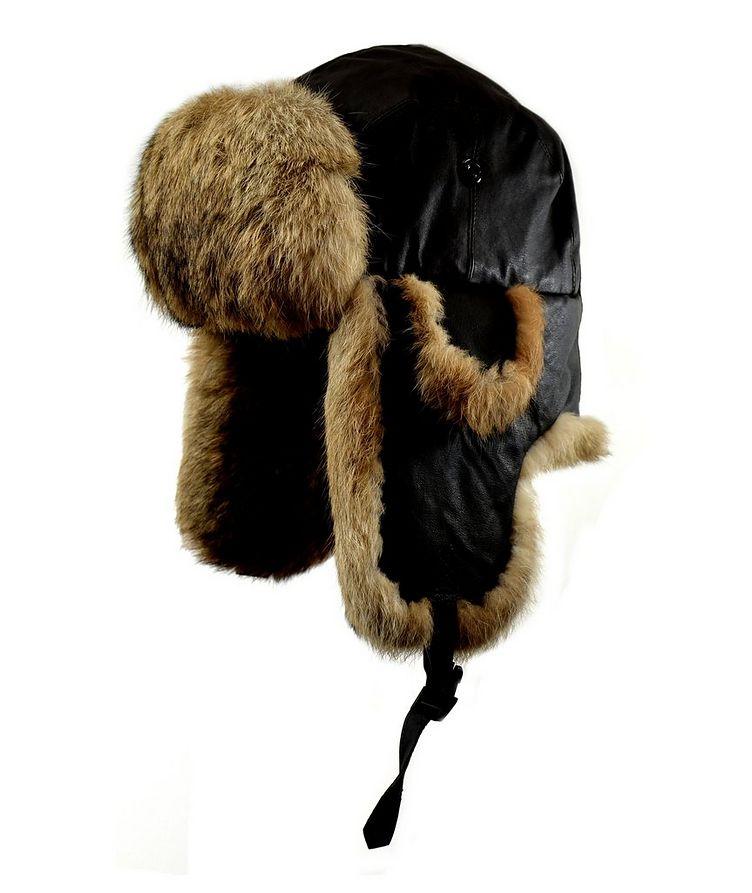 Nappa Leather & Rabbit Fur Aviator Hat image 0