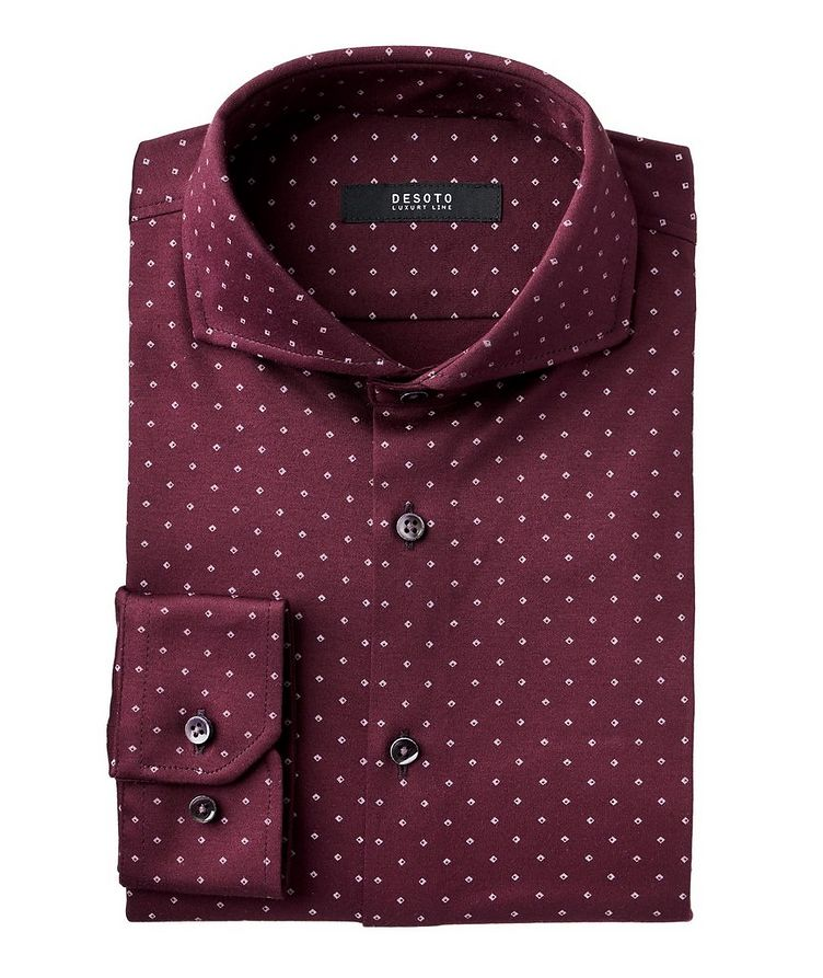 Contemporary-Fit Neat-Printed Cotton Shirt image 0