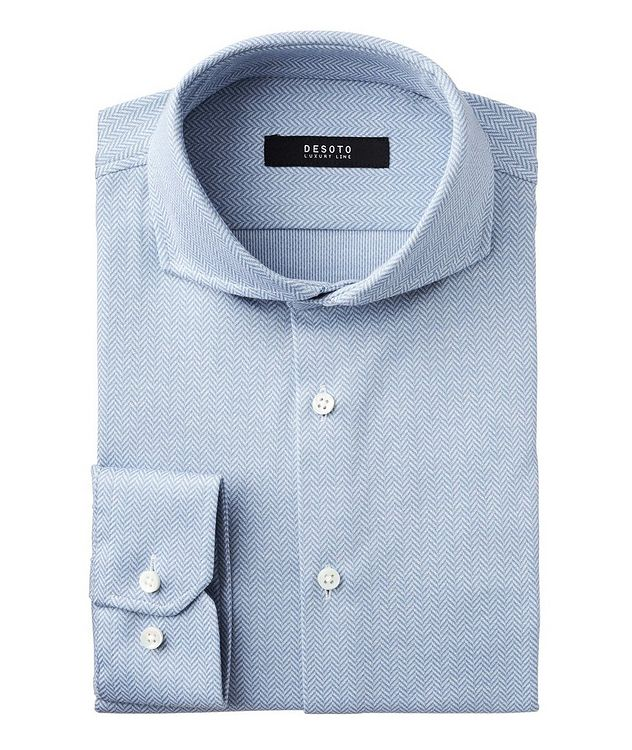 Contemporary-Fit Herringbone Cotton Shirt picture 1