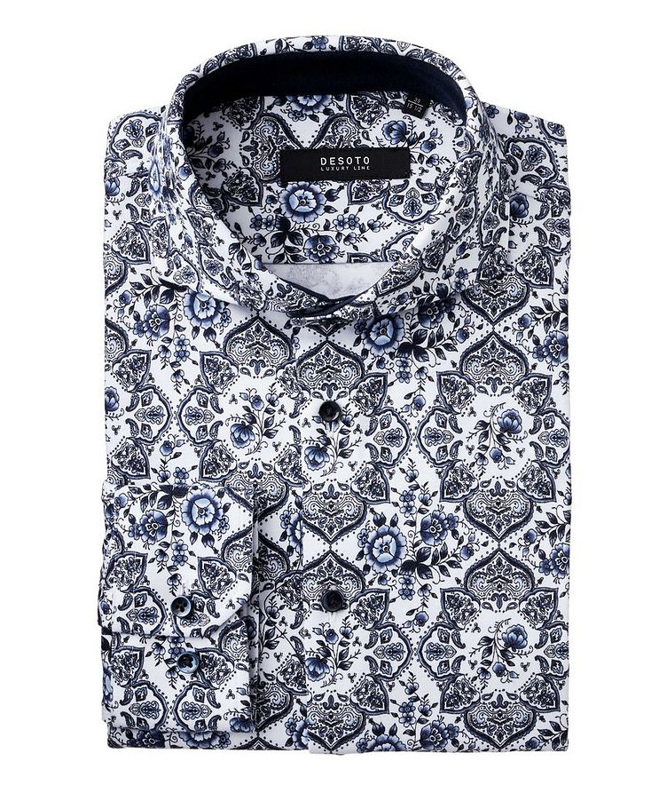 Contemporary-Fit Botanical Paisley Cotton Shirt image 0