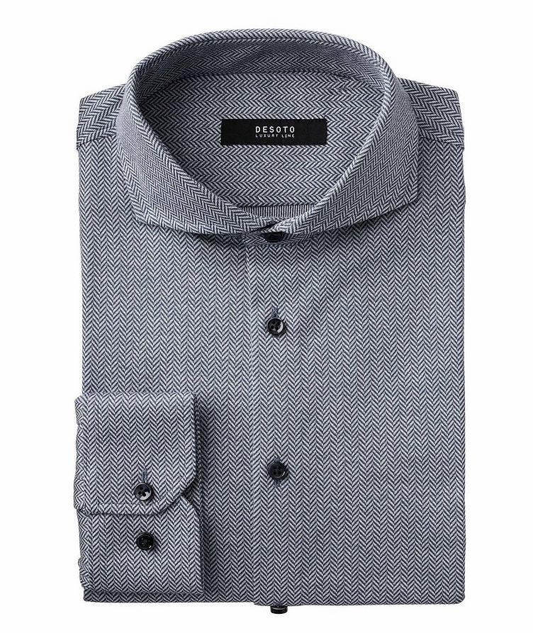 Chemise en coton à motif de chevrons de coupe contemporaine image 0