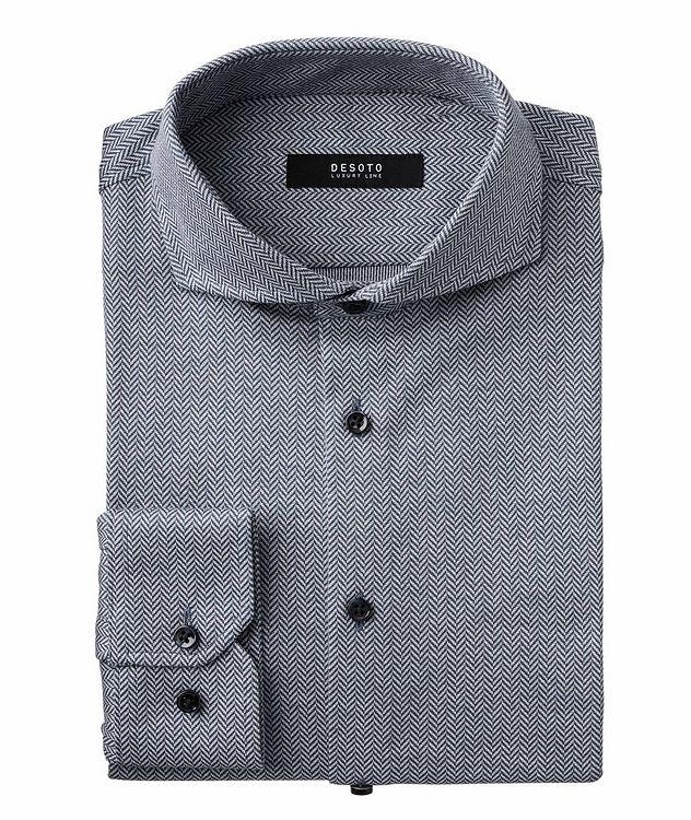Chemise en coton à motif de chevrons de coupe contemporaine picture 1