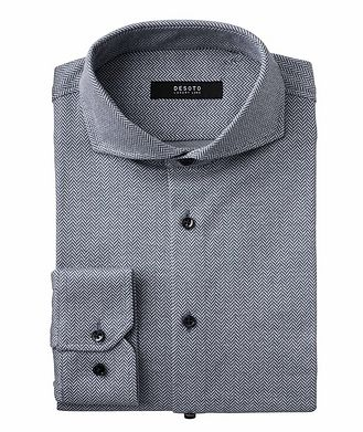 Desoto Contemporary-Fit Herringbone Cotton Shirt