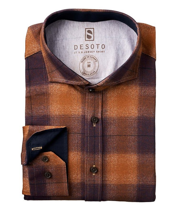 Contemporary-Fit Plaid Cotton-Jersey Shirt image 0