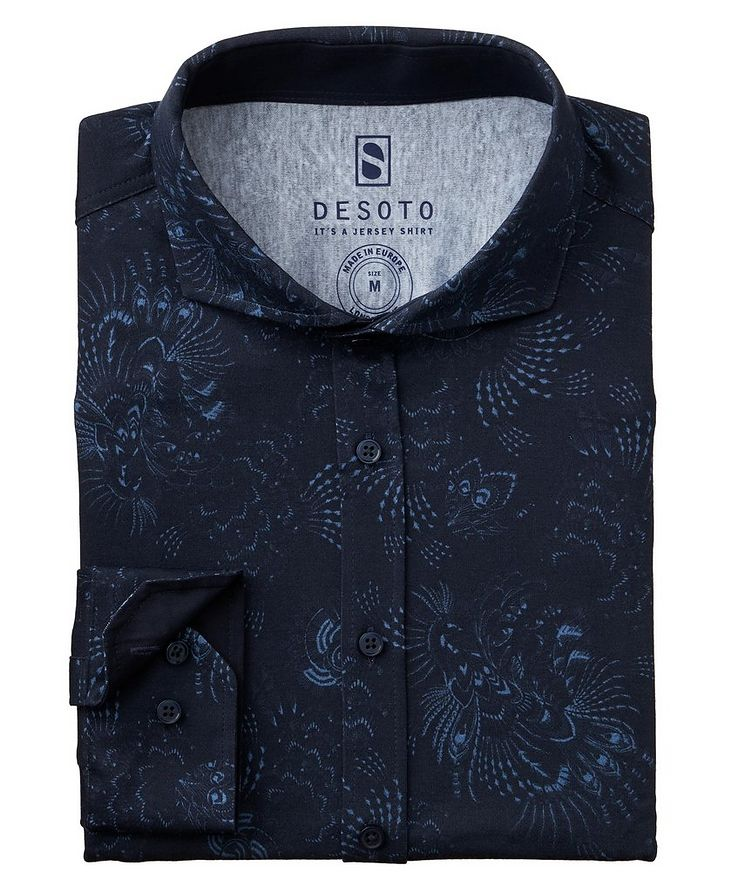 Contemporary-Fit Botanical Cotton-Jersey Shirt image 0
