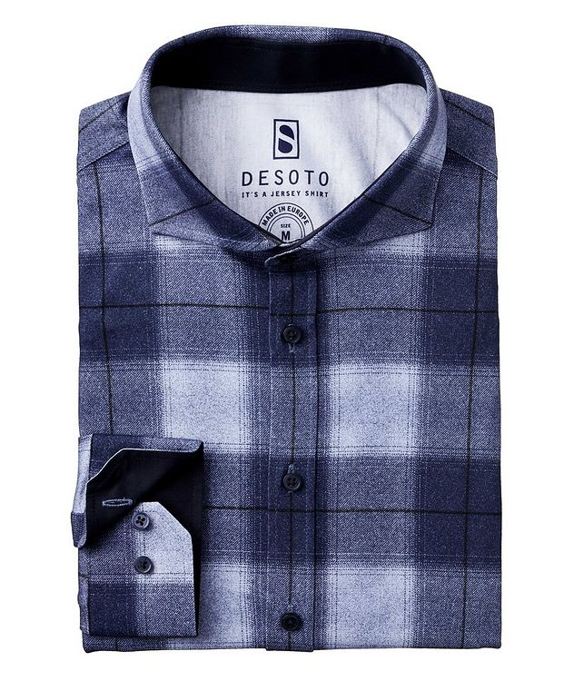 Contemporary-Fit Plaid Cotton-Jersey Shirt picture 1