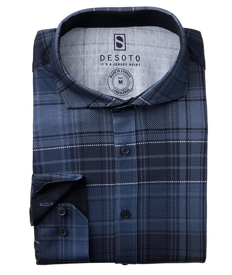 Contemporary-Fit Plaid Cotton-Jersey Shirt image 0