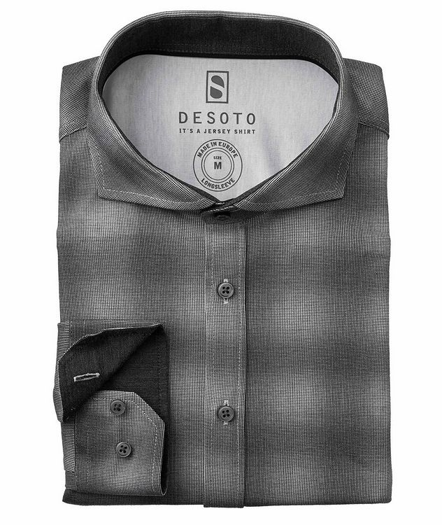 Contemporary-Fit Ombre Check Cotton-Jersey Shirt picture 1