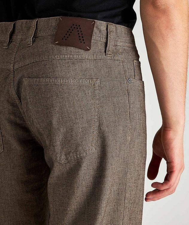Checked Regular Fit Stretch-Cotton Pants picture 3