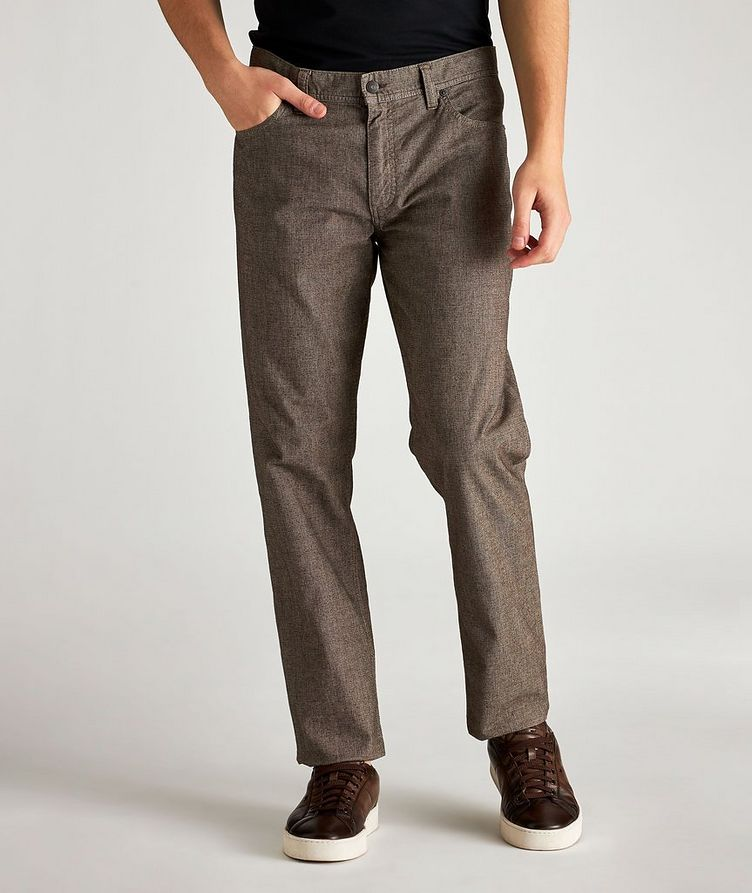 Checked Regular Fit Stretch-Cotton Pants image 0