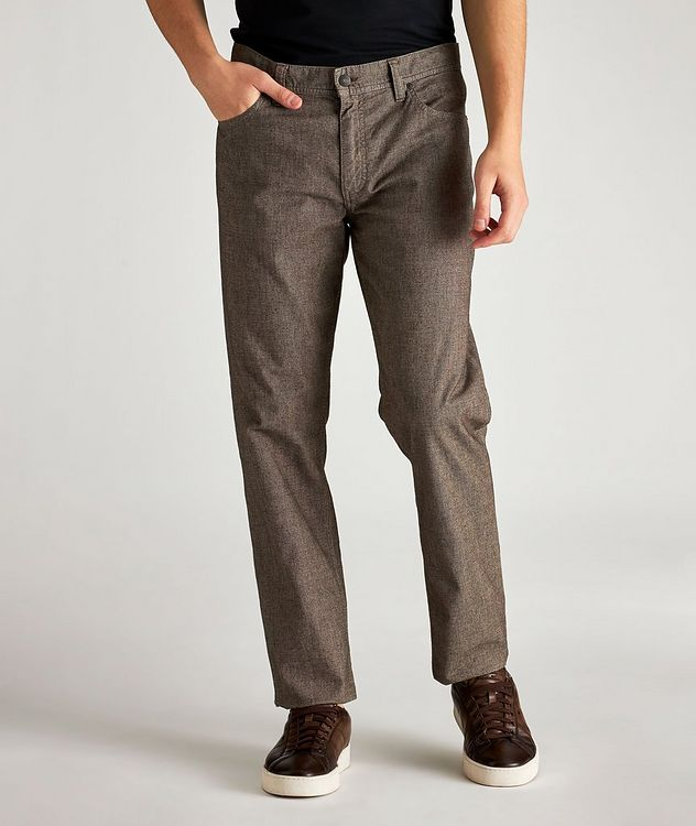 Checked Regular Fit Stretch-Cotton Pants picture 1
