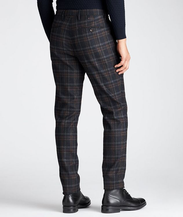 Slim Fit Plaid Stretch-Wool Pants picture 2