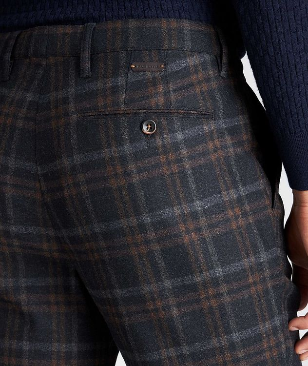 Slim Fit Plaid Stretch-Wool Pants picture 3