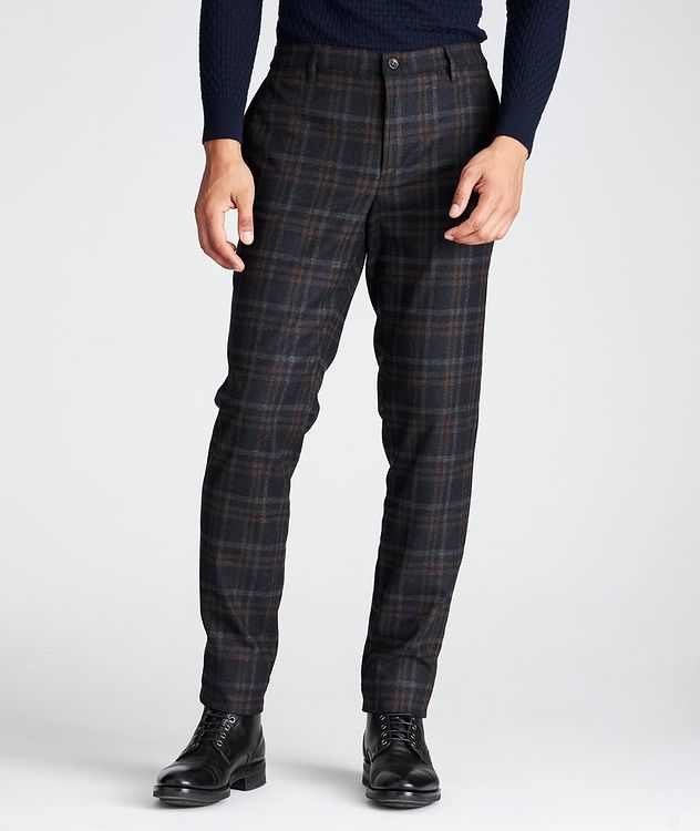 Slim Fit Plaid Stretch-Wool Pants picture 1