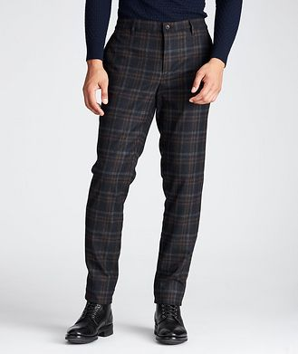 ALBERTO Slim Fit Plaid Stretch-Wool Pants