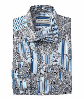 Etro Paisley-Striped Silk Shirt