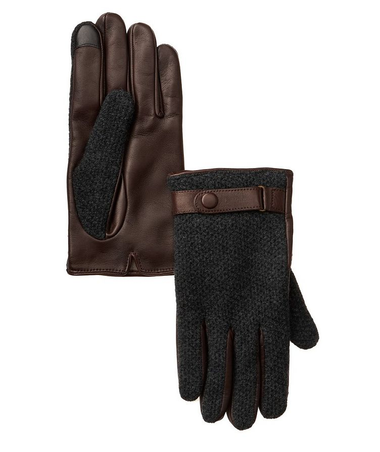 Leather Cashmere Touchscreen Gloves image 0