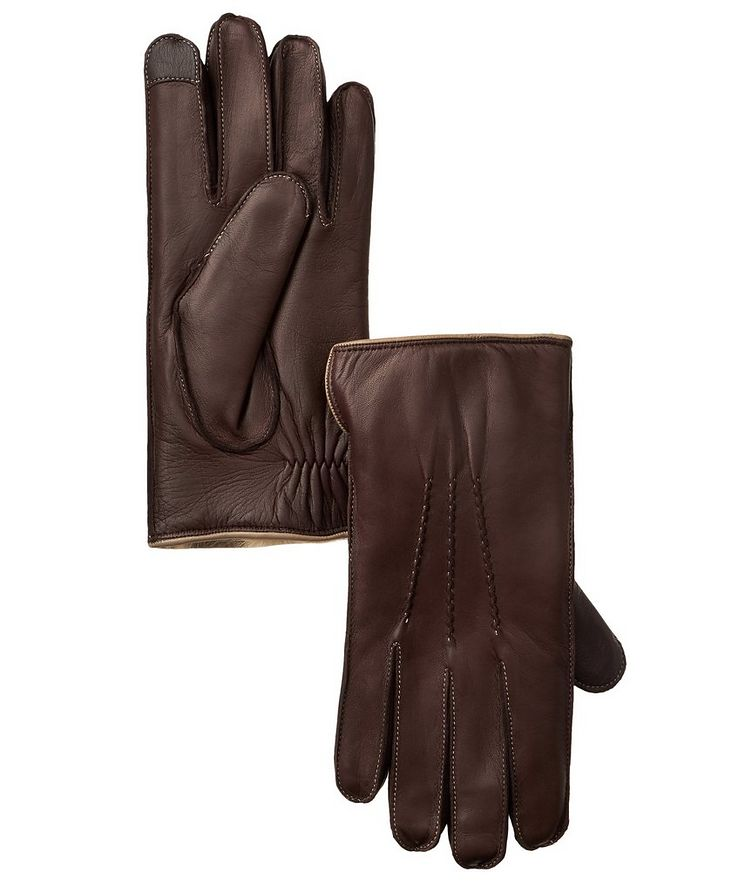 Leather Fur Touchscreen Gloves image 0
