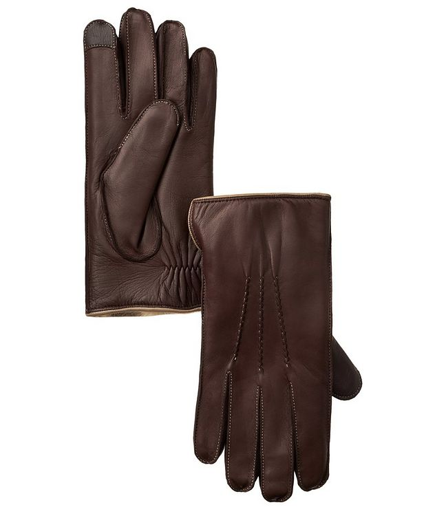 Leather Fur Touchscreen Gloves picture 1