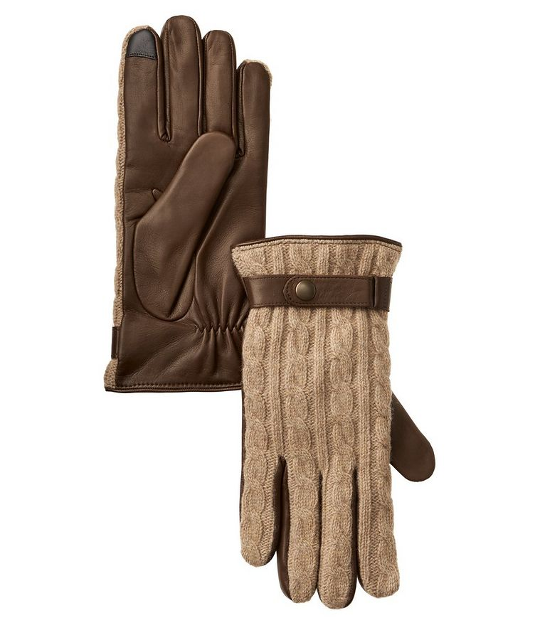 Leather Cable Knit Cashmere Gloves image 0