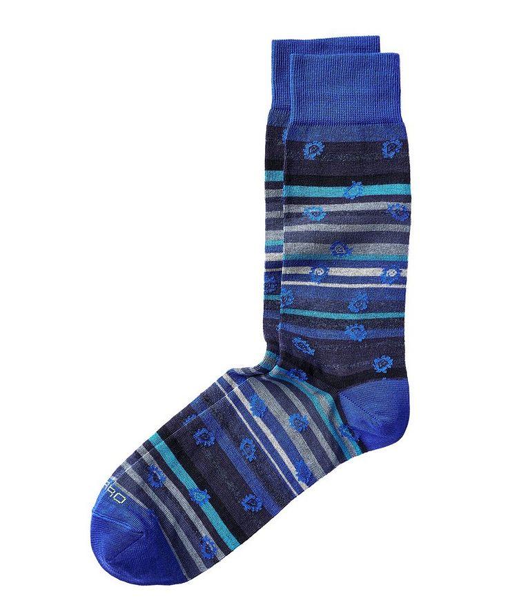Striped Paisley-Printed Socks image 0