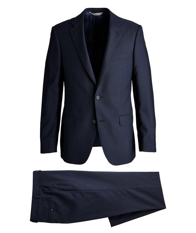 Cosmo Faint-Checked Wool-Silk Suit picture 1