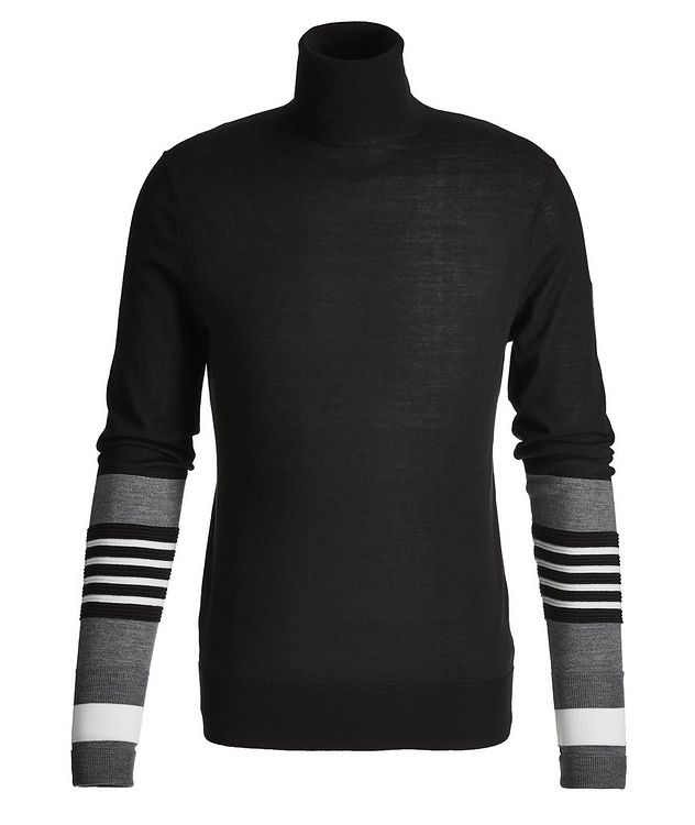 Striped Wool, Silk, and Cashmere Turtleneck picture 1