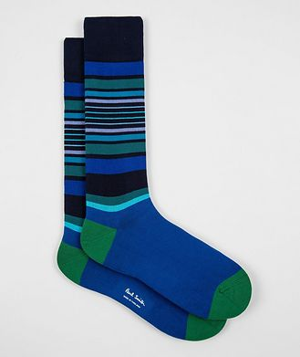 Paul Smith Chaussettes en coton extensible à rayures