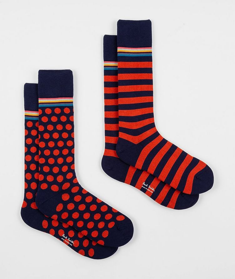 2-Pack Printed Stretch-Cotton Socks image 0