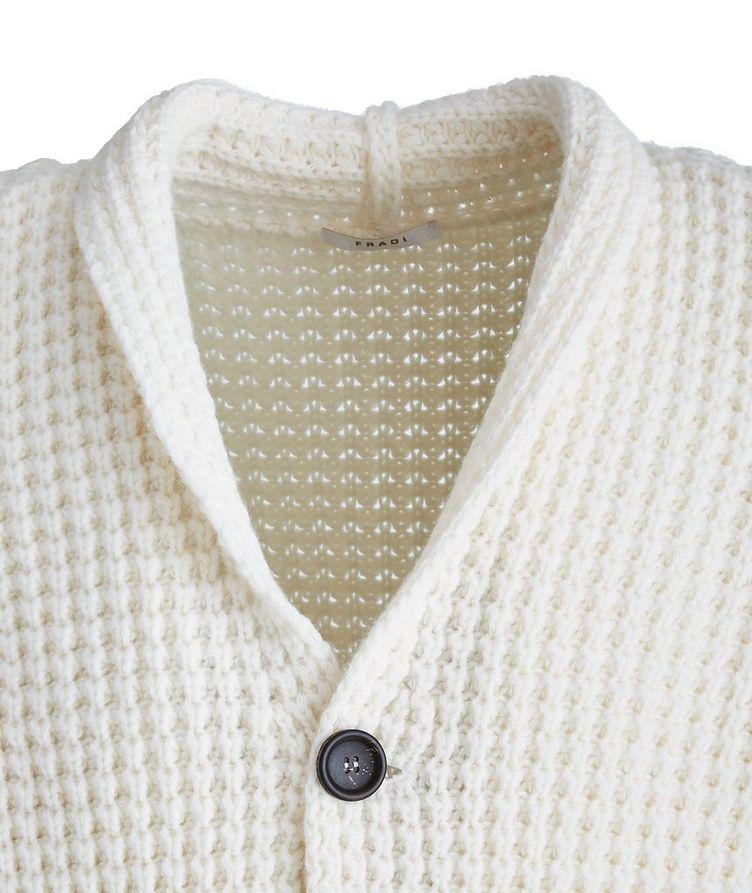 Waffle-Knit Extra-Fine Merino Shawl Cardigan image 1