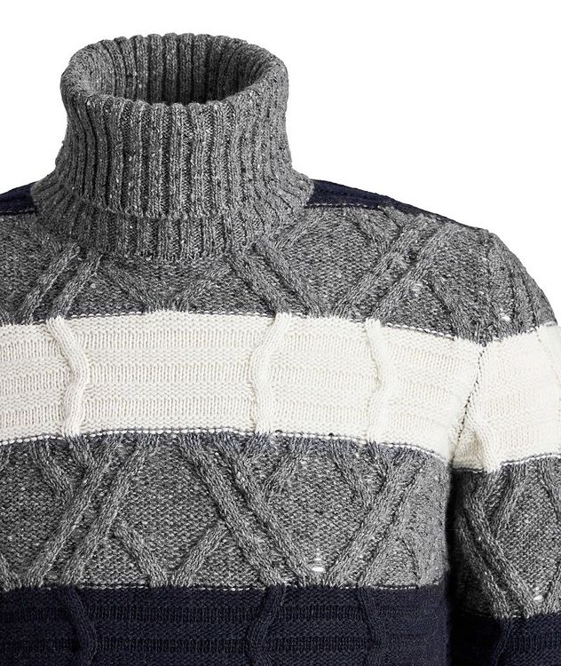 Wool-Blend Knit Striped Turtleneck picture 3