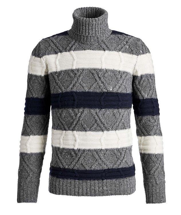 Wool-Blend Knit Striped Turtleneck picture 1