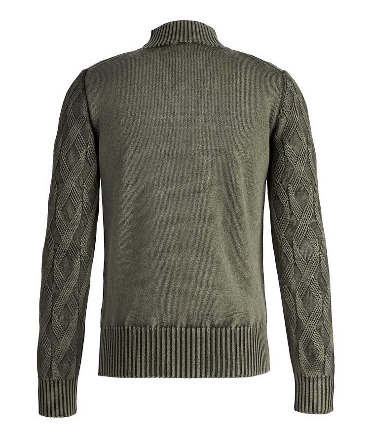 Frosted Dye Cable Knit Wool Mock-Neck image 1