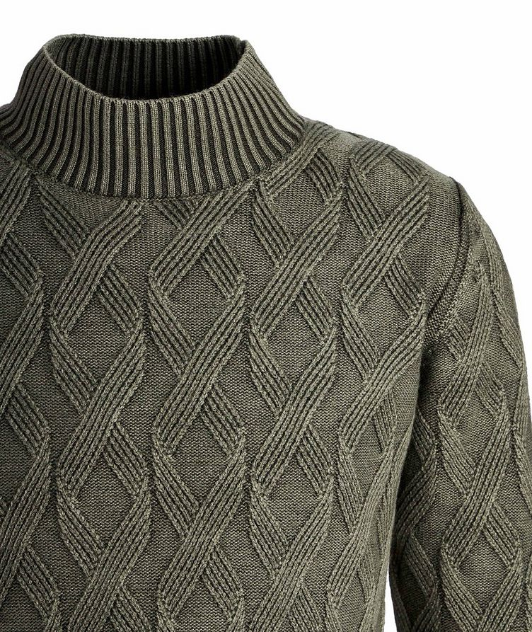 Frosted Dye Cable Knit Wool Mock-Neck image 2