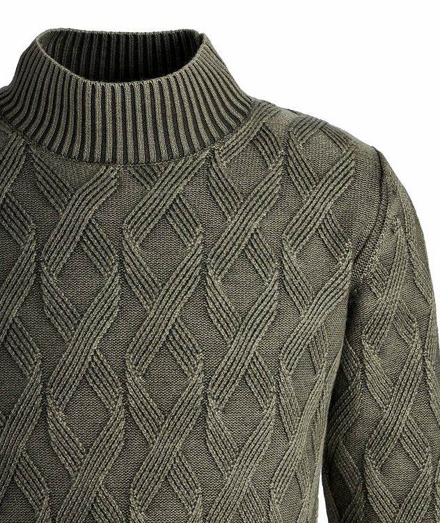 Frosted Dye Cable Knit Wool Mock-Neck picture 3