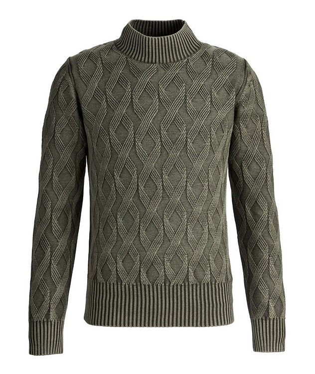 Frosted Dye Cable Knit Wool Mock-Neck picture 1