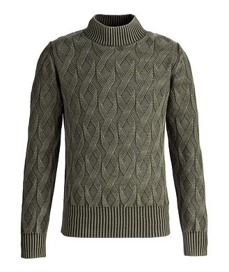 Fradi Frosted Dye Cable Knit Wool Mock-Neck