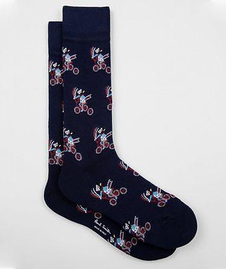 Paul Smith Printed Stretch-Cotton Socks
