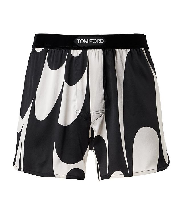 Printed Stretch-Silk Boxers picture 1