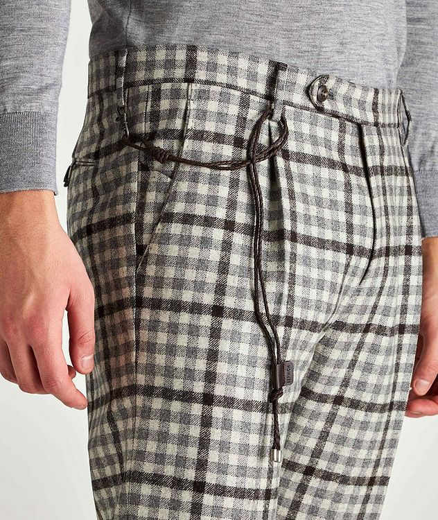 Morello Slim-Fit Checked Wool Pants picture 3