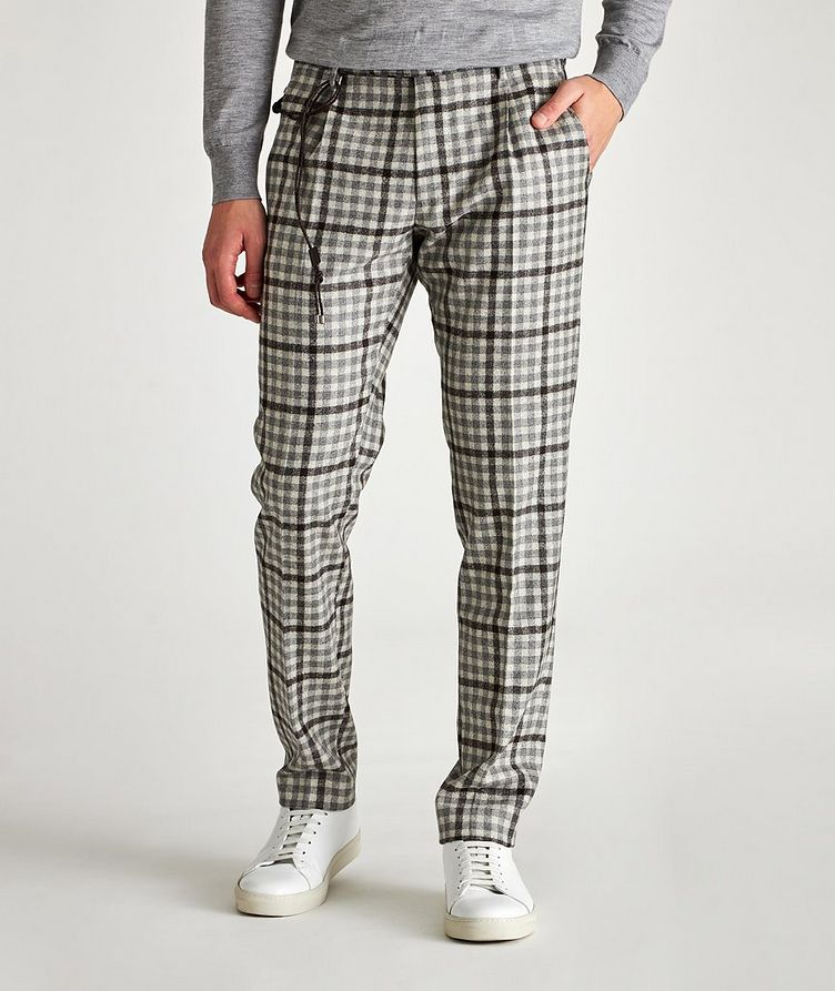 Morello Slim-Fit Checked Wool Pants image 0